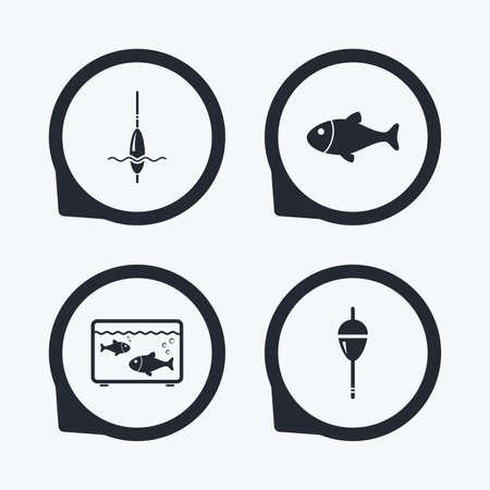 bobber: Fishing icons. Fish with fishermen hook sign. Float bobber symbol. Aquarium icon. Flat icon pointers.