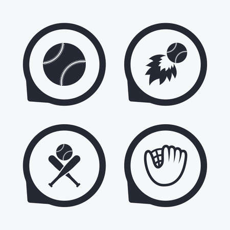 crosswise: Baseball sport icons. Ball with glove and two crosswise bats signs. Fireball symbol. Flat icon pointers.