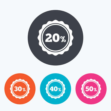 30 to 40: Sale discount icons. Special offer stamp price signs. 20, 30, 40 and 50 percent off reduction symbols. Circle flat buttons with icon.
