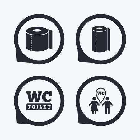 gents: Toilet paper icons. Gents and ladies room signs. Paper towel or kitchen roll. Man and woman symbols. Flat icon pointers.