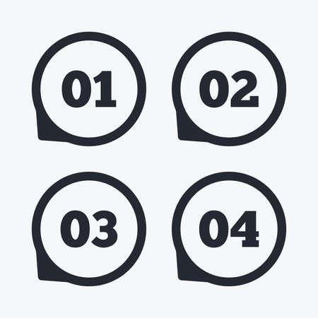 1 つ、2 つ、3 つ、4 つのアイコンをステップ実行します。オプション記号のシーケンス。読み込みプロセスの兆候。フラット アイコン ポインター。  イラスト・ベクター素材