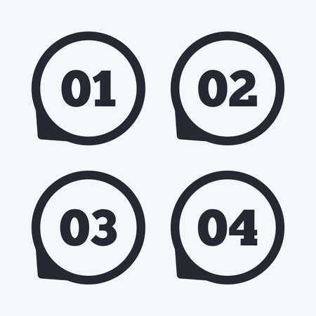 03: Step one, two, three and four icons. Sequence of options symbols. Loading process signs. Flat icon pointers. Illustration