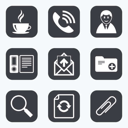 office buttons: Office, documents and business icons. Coffee, phone call and businessman signs. Safety pin, magnifier and mail symbols. Flat square buttons with rounded corners. Illustration