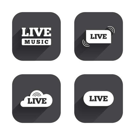 live stream music: Live music icons. Karaoke or On air stream symbols. Cloud sign. Square flat buttons with long shadow. Illustration