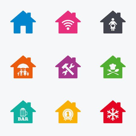 air hammer: Real estate icons. Home insurance, maternity hospital and wifi internet signs. Restaurant, service and air conditioning symbols. Flat colored graphic icons. Illustration