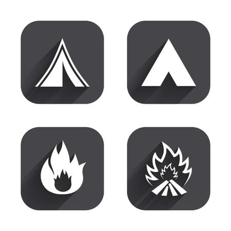 fire place: Tourist camping tent icons. Fire flame sign symbols. Square flat buttons with long shadow.