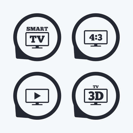 widescreen: Smart TV mode icon. Aspect ratio 4:3 widescreen symbol. 3D Television sign. Flat icon pointers. Illustration