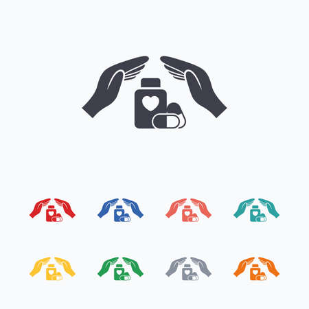 hand colored: Medical insurance sign icon. Hand holds pills bottle drugs. Health Insurance. Colored flat icons on white background.