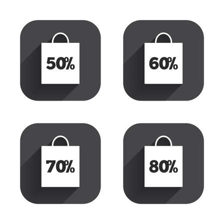 50 to 60: Sale bag tag icons. Discount special offer symbols. 50%, 60%, 70% and 80% percent discount signs. Square flat buttons with long shadow.