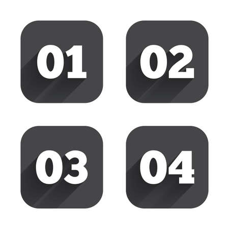 sequence: Step one, two, three and four icons. Sequence of options symbols. Loading process signs. Square flat buttons with long shadow.
