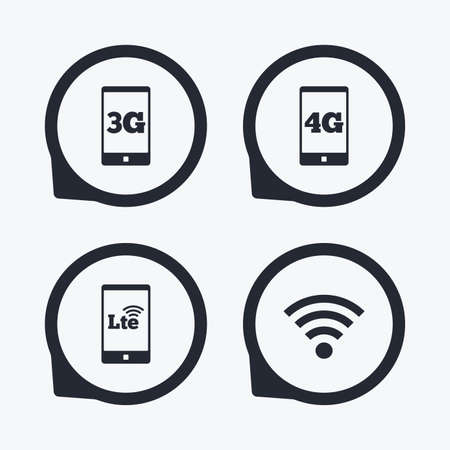 3g: Mobile telecommunications icons. 3G, 4G and LTE technology symbols.