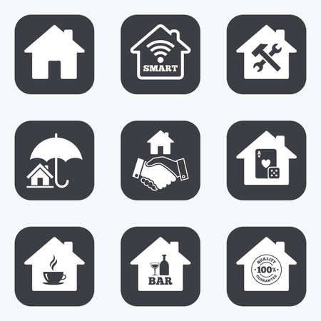 tea estates: Real estate icons. House insurance, broker and casino with bar signs. Handshake deal, coffee and smart house symbols. Flat square buttons with rounded corners. Illustration