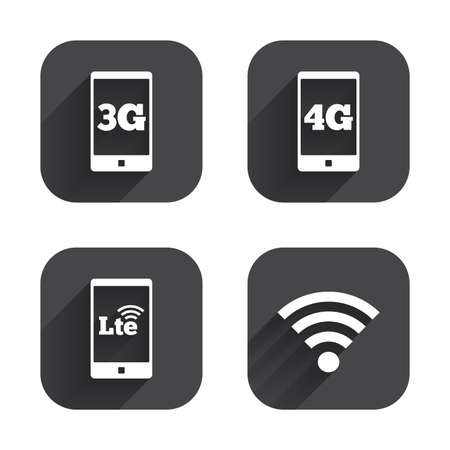 long term evolution: Mobile telecommunications icons. 3G, 4G and LTE technology symbols. Wi-fi Wireless and Long-Term evolution signs. Square flat buttons with long shadow.