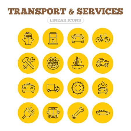 transport truck: Transport and services icons. Ship, car and public bus, taxi. Repair hammer and wrench key, wheel and cogwheel. Sailboat and bicycle. Linear icons on yellow buttons.