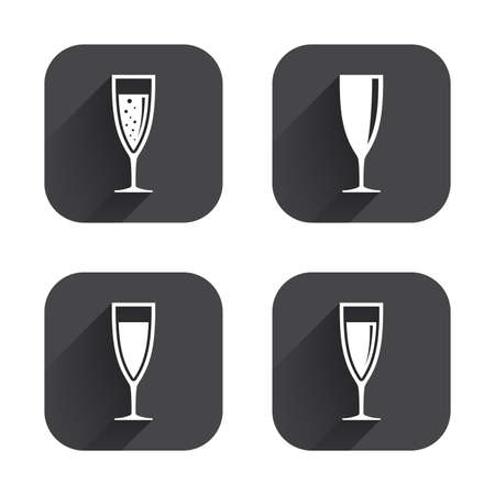 sparkling wine: Champagne wine glasses icons. Alcohol drinks sign symbols. Sparkling wine with bubbles. Square flat buttons with long shadow.