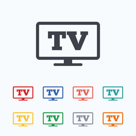 television set: Widescreen TV sign icon. Television set symbol. Colored flat icons on white background.