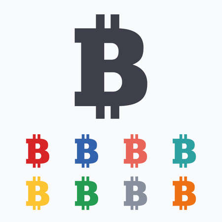 cryptography: Bitcoin sign icon. Cryptography currency symbol. P2P. Colored flat icons on white background. Illustration