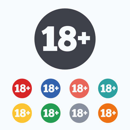 18 years old: 18 plus years old sign. Adults content icon. Colored flat icons on white background.