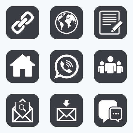 Communication icons. Contact, mail signs. E-mail, call phone and group symbols. Flat square buttons with rounded corners.