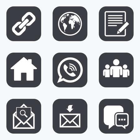 Mededeling van de pictogrammen. Contact, mail tekenen. E-mail, call telefoon en de groep symbolen. Flat vierkante knoppen met afgeronde hoeken.