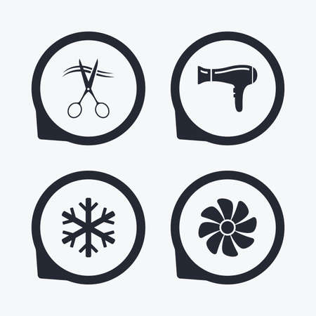 cold cuts: Hotel services icons. Air conditioning, Hairdryer and Ventilation in room signs. Climate control. Hairdresser or barbershop symbol. Flat icon pointers.