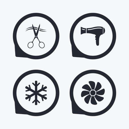 fiambres: Servicios de hoteles iconos. Aire acondicionado, Secador de pelo y ventilación en los signos de las habitaciones. Control climatico. Peluquería o barbería símbolo. punteros icono planas.