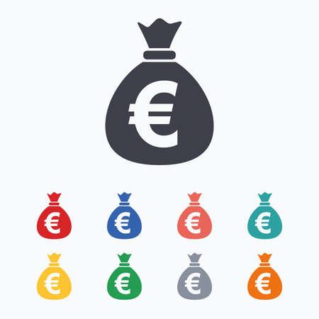 お金袋の記号アイコン。ユーロ ユーロ通貨記号。白の背景に色付きのフラット アイコン。