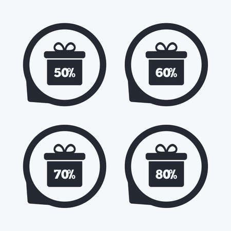 50 to 60: Sale gift box tag icons. Discount special offer symbols. 50%, 60%, 70% and 80% percent discount signs. Flat icon pointers. Illustration