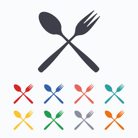 teaspoon: Eat sign icon. Cutlery symbol. Dessert fork and teaspoon crosswise. Colored flat icons on white background.