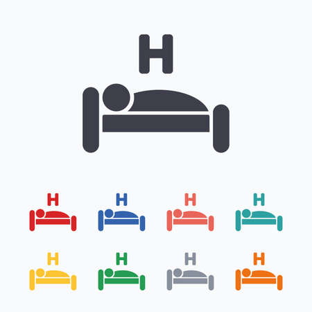 sleeper: Hotel apartment sign icon. Travel rest place. Sleeper symbol. Colored flat icons on white background.