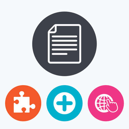 puzzle corners: Plus add circle and puzzle piece icons. Document file and globe with hand pointer sign symbols. Circle flat buttons with icon.