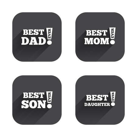 dad and son: Best mom and dad, son and daughter icons. Awards with exclamation mark symbols. Square flat buttons with long shadow.