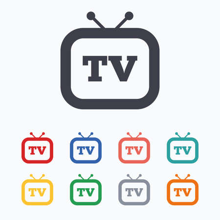 television aerial: Retro TV sign icon. Television set symbol. Colored flat icons on white background. Illustration