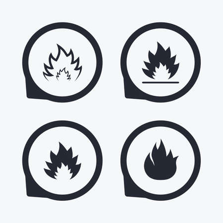 inflammable: Fire flame icons. Heat symbols. Inflammable signs. Flat icon pointers.