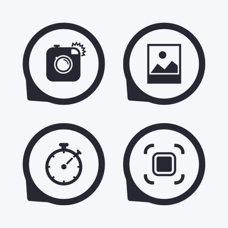 autofocus: Hipster retro photo camera icon. Autofocus zone symbol. Stopwatch timer sign. Landscape photo frame. Flat icon pointers.