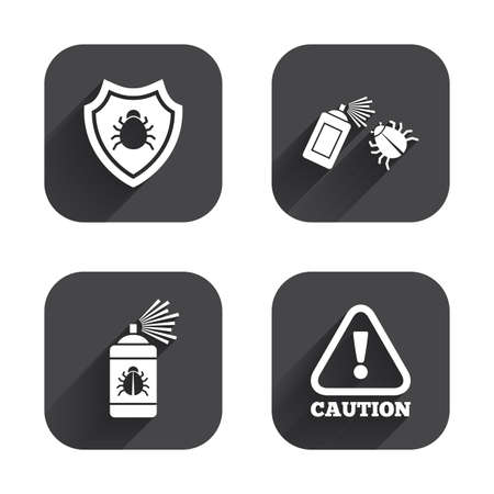 Bug disinfection icons. Caution attention and shield symbols. Insect fumigation spray sign. Square flat buttons with long shadow. Illustration