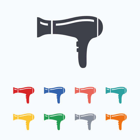 blow drying: Hairdryer sign icon. Hair drying symbol. Colored flat icons on white background. Illustration