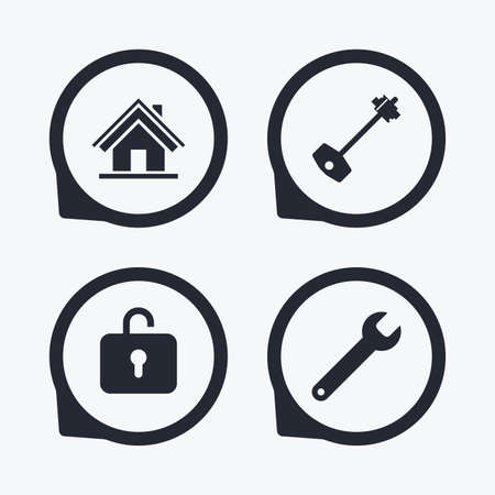 screw key: Home key icon. Wrench service tool symbol. Locker sign. Main page web navigation. Flat icon pointers.