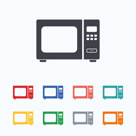 microwave stove: Microwave oven sign icon. Kitchen electric stove symbol. Colored flat icons on white background. Illustration