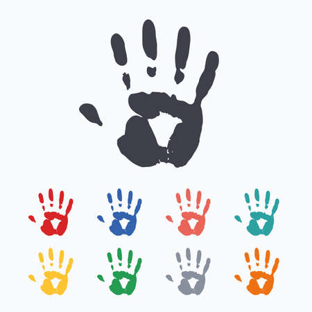 hand colored: Hand print sign icon. Stop symbol. Colored flat icons on white background.