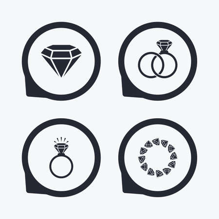 diamond rings: Rings icons. Jewelry with shine diamond signs. Wedding or engagement symbols. Flat icon pointers.