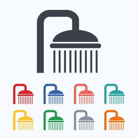 douche: Shower sign icon. Douche with water drops symbol. Colored flat icons on white background.