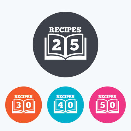 30 to 40: Cookbook icons. 25, 30, 40 and 50 recipes book sign symbols. Circle flat buttons with icon. Illustration