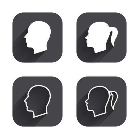 pigtail: Head icons. Male and female human symbols. Woman with pigtail signs. Square flat buttons with long shadow.