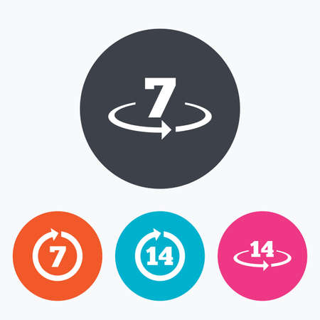 weeks: Return of goods within 7 or 14 days icons. Warranty 2 weeks exchange symbols. Circle flat buttons with icon. Illustration