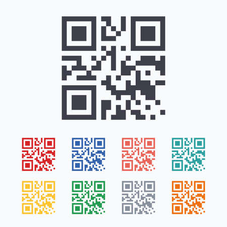 coded: Qr code sign icon. Scan code symbol. Coded word - success! Colored flat icons on white background. Illustration