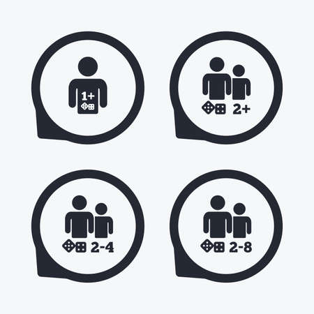gamer: Gamer icons. Board games players sign symbols. Flat icon pointers. Illustration