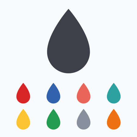 tear drop: Water drop sign icon. Tear symbol. Colored flat icons on white background. Illustration