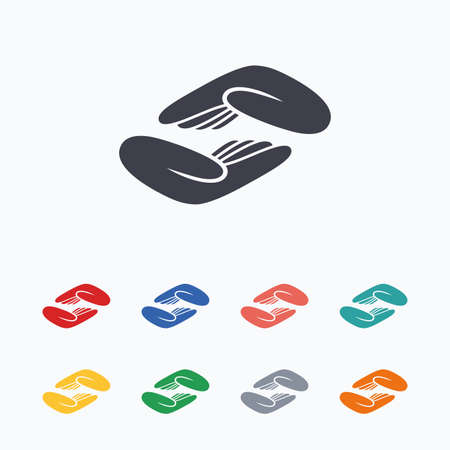endowment: Helping hands sign icon. Charity or endowment symbol. Human palm. Colored flat icons on white background.