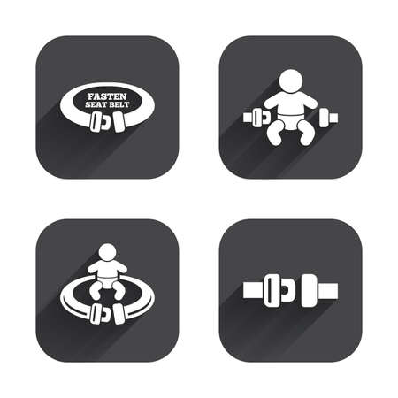 fasten: Fasten seat belt icons. Child safety in accident symbols. Vehicle safety belt signs. Square flat buttons with long shadow.
